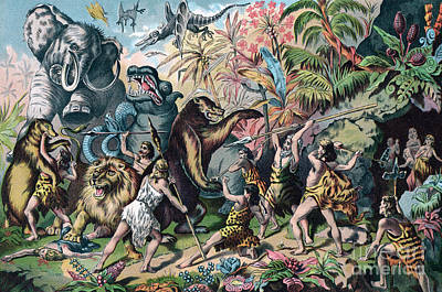 Lion Illustrations Painting - Prehistoric Man Battling Ferocious Animals by American School