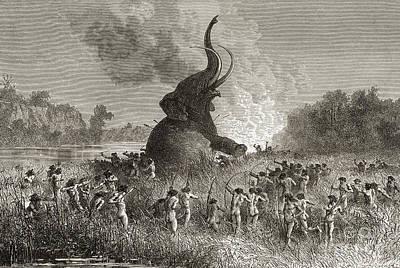 Prehistoric Man Hunting A Mammoth  Art Print