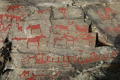 Hunters And Gatherers Photograph - Prehistoric Rock Engraving With Moose And Rowing Ships by Ulrich Kunst And Bettina Scheidulin