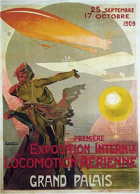 Train Mixed Media - Premiere Exposition Internle De Locomotion Aerienne - Grand Palais - Retro Travel Poster - Vintage by Studio Grafiikka
