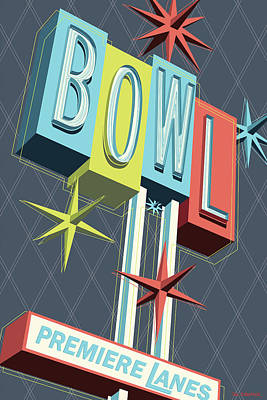 Retro Wall Art - Digital Art - Premiere Lanes Bowling Pop Art by Jim Zahniser