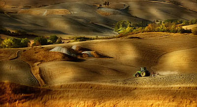 Tractors Photograph - Preparation For Sowing - Volterra (pi) - Toscana - Italy by Antonio Grambone