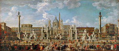 Preparation Of The Festivities At Piazza Navona Art Print by Celestial Images