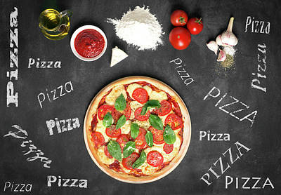 Prepared Pizza And Its Ingredients  Art Print by Vadim Goodwill