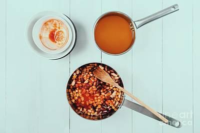 Preparing Chili Bean Stew On White Wood Kitchen Table Art Print