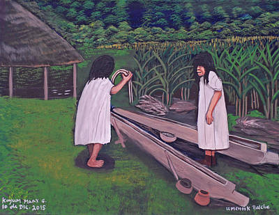 Painting - Preparing For The Balche Ceremony by Kayum Ma'ax Garcia