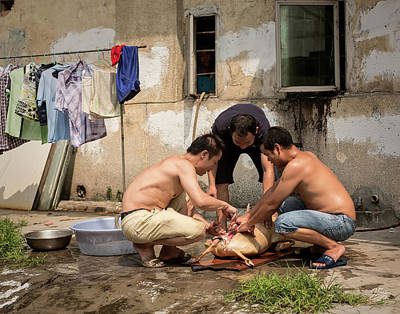 Photograph - Preparing Lunch In Shilong by Endre Balogh