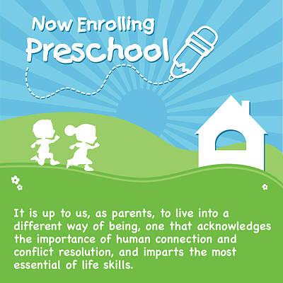 Drawing - Preschool Enrollment Poster by Serena King