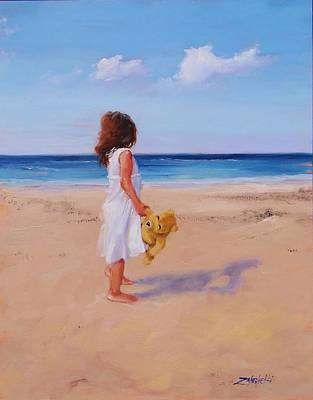 Little Girl On Beach Painting - Precious Moment by Laura Lee Zanghetti