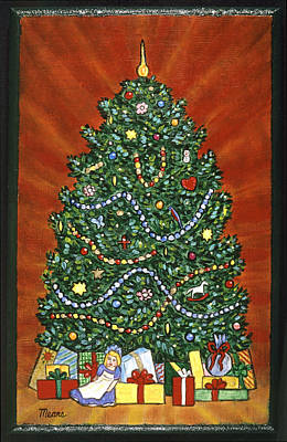 Santa Claus Painting - Presents Under The Christmas Tree  by Linda Mears
