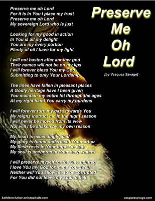 Digital Art - Preserve Me Oh Lord by Kathleen Luther