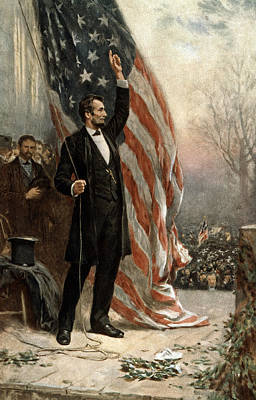 Lincoln Portrait Photograph - President Abraham Lincoln - American Flag by International  Images