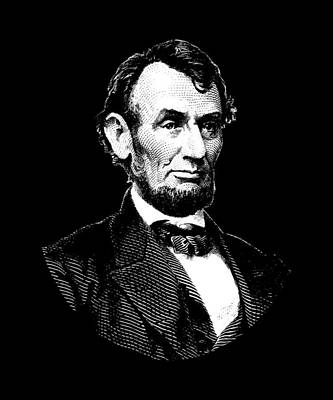 Digital Art - President Abraham Lincoln Graphic - Black And White by War Is Hell Store