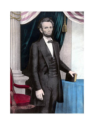 Landmarks Painting Royalty Free Images - President Abraham Lincoln In Color Royalty-Free Image by War Is Hell Store
