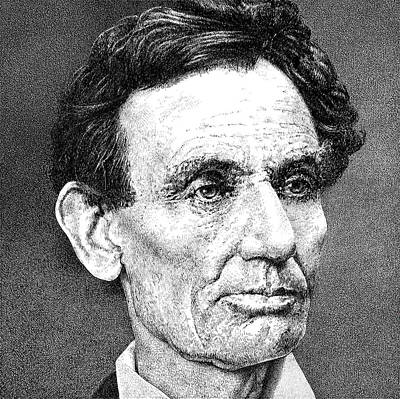 Log Cabin Art Drawing - President Abraham Lincoln by William Beauchamp