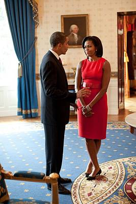 President And Michelle Obama Talk Print by Everett