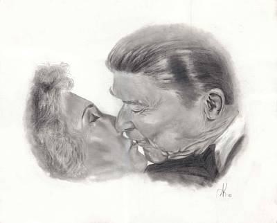 Annette Kinship Wall Art - Drawing - President And Nancy Reagan by Annette Kinship