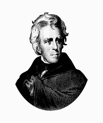 President Andrew Jackson Graphic Black And White Art Print