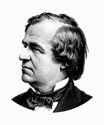 Digital Art - President Andrew Johnson Graphic - Black And White by War Is Hell Store