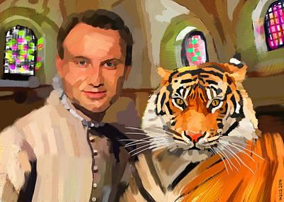 Very Painting - President Andrzej Duda With A Tiger by Maciej Mackiewicz
