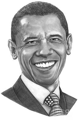 President Barack Obama By Murphy Art. Elliott Art Print
