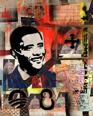 Museum Mixed Media Mixed Media - President Barack Obama by Everett Spruill