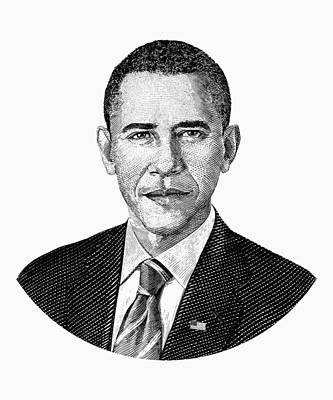 President Barack Obama Graphic Black And White Art Print