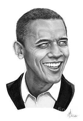 Famous People Drawing - President Barack Obama by Murphy Elliott