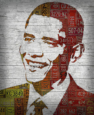 President Barack Obama Mixed Media - President Barack Obama Portrait United States License Plates by Design Turnpike