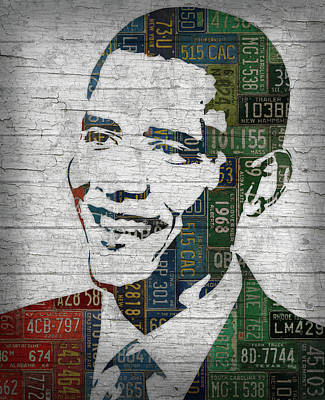 Barack Obama Wall Art - Mixed Media - President Barack Obama Portrait United States License Plates Edition Two by Design Turnpike