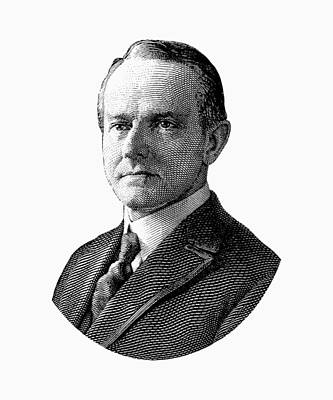 Digital Art - President Calvin Coolidge Graphic - Black And White by War Is Hell Store