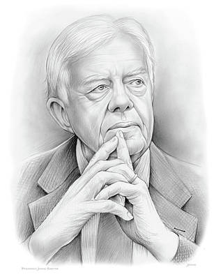 Presidents Drawing - President Carter by Greg Joens