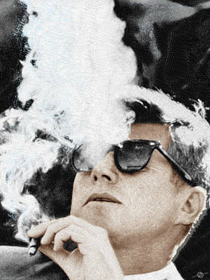 Painting - President Cool Jfk Sunglasses Cigar by Tony Rubino