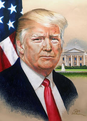 Impressionistic Landscape Drawing - President Donald Trump Art by Robert Korhonen