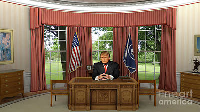 Photograph - President Donald Trump In The Oval Office by Doc Braham