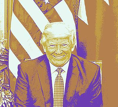 Male Painting - President Donald Trump Portrait Series 2 by Celestial Images