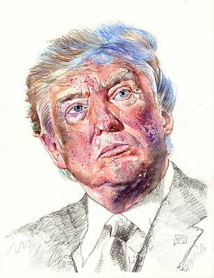 Money Painting - President Donald Trump Portrait by Suzann's Art