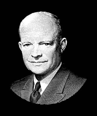 President Dwight Eisenhower Graphic - Black And White Art Print by War Is Hell Store