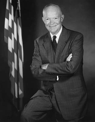 President Eisenhower And The U.s. Flag Art Print by War Is Hell Store