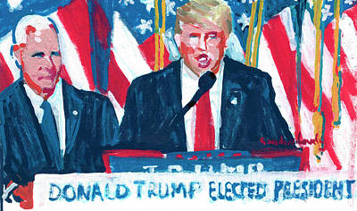 Pence Drawing - President Elect Donald Trump And Vice President Elect Mike Pence  by Candace Lovely