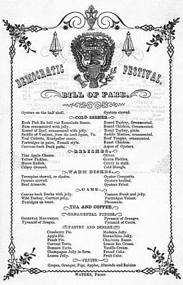 Photograph -  President-elect Pierce's Dinner Menu 1852 by Daniel Hagerman