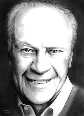 Drawings Rights Managed Images - President Ford Royalty-Free Image by Greg Joens
