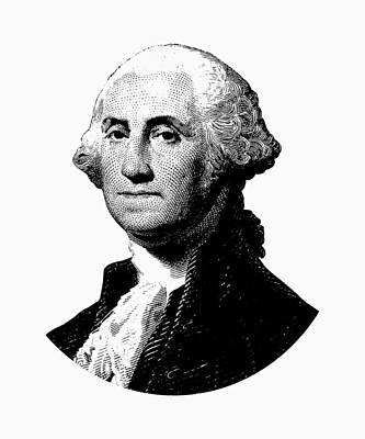 Digital Art - President George Washington Graphic - Black And White by War Is Hell Store