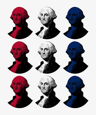 George Washington Digital Art - President George Washington - Red, White, And Blue  by War Is Hell Store