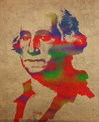 President Mixed Media - President George Washington Watercolor Portrait by Design Turnpike
