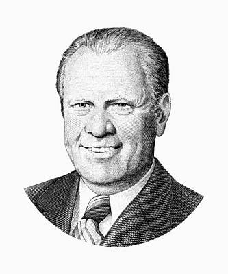 Digital Art - President Gerald Ford Graphic - Black And White by War Is Hell Store