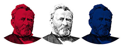 War Hero Digital Art - President Grant Red White And Blue by War Is Hell Store