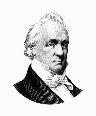 Digital Art - President James Buchanan Graphic - Black And White by War Is Hell Store