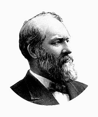 Digital Art - President James Garfield Graphic - Black And White by War Is Hell Store