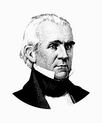 President James K. Polk Graphic Black And White Art Print